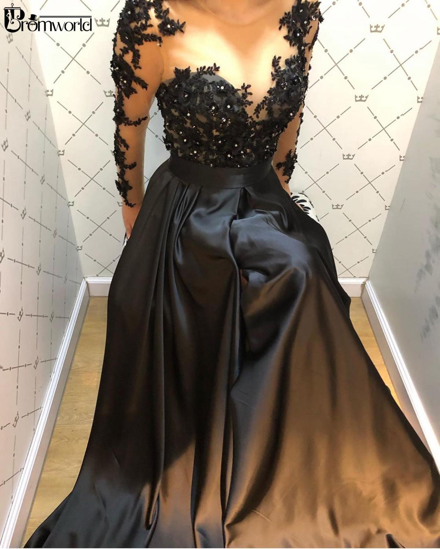 Elegant A-Line Long Sleeve Evening Dresses 2020 Black Formal Dress Handmade Flowers Crystal Satin Lace Women Evening Gowns
