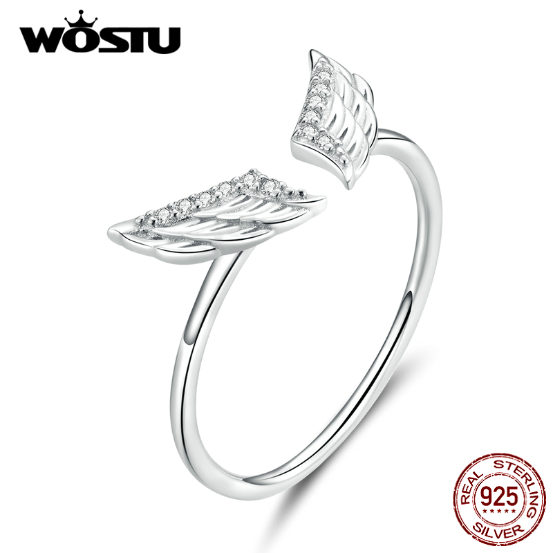WOSTU Wings Fashion Ring 925 Sterling Silver Zircon Open Ring Adjustable Finger For Women Wedding Luxury Jewelry Gift CTR108
