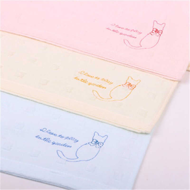 2019 new cotton gauze embroidery towel cute cat wash face
