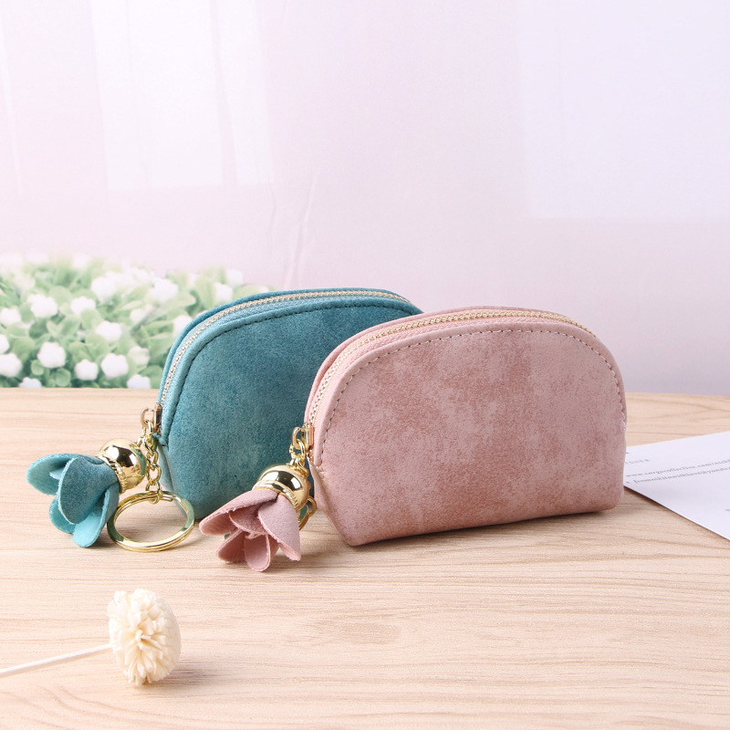 Fashion Card Holders Mini Pouch Wallets Women Coin Purse Ladies Pu Leather Tassel & Metal Ring Clutch Keychain Thin Key Bag