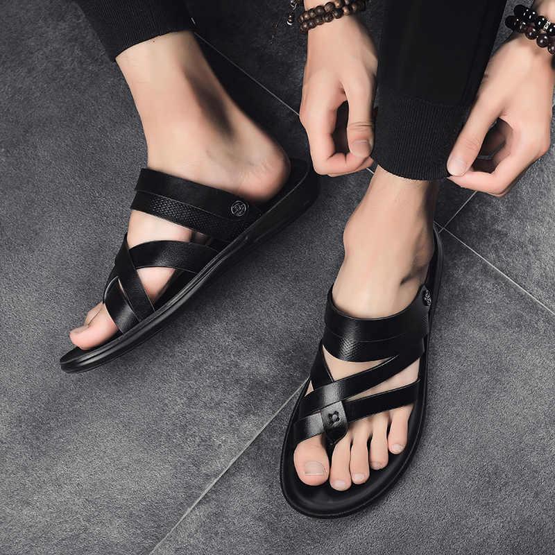 Obuwie plażowe japonki męskie moda oddychające letnie jasne oryginalne skórzane obuwie slajdy czarne sandały męskie