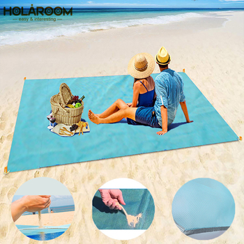 Ręcznik plażowy bez piasku przenośny niebieski ręcznik plażowy antypoślizgowe maty z piasku poliestrowy ręcznik na zewnątrz do wsparcia plażowego drop ship tanie i dobre opinie HOLAROOM CN (pochodzenie) Beach Towel Bez wzorków wyszywana Rectangle 0 3-0 55kg TO11H Szybkoschnący 11 s-15 s Stałe