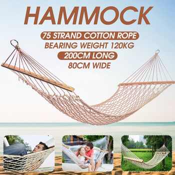 1-2 Person Portable Outdoor Hammock White Mesh Cotton Rope Swing Hammock for Porch Beach Indoor Patio Hammock for Bedroom