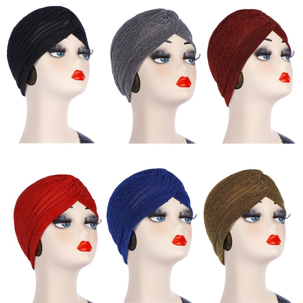 Muslim Women Indian Beanie Hat Pleated Turban Islamic Turban Chemo Cancer Headwear Hair Loos Caps Bone Bonnet Hats Fashion New