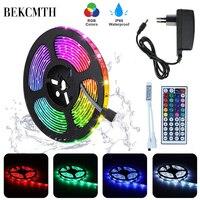 BEKCMTH RGB LED tira de luz SMD2835 5050 5M 10M impermeable RGB cinta DC12V diodo de cinta led lámparas de tiras con control remoto IR