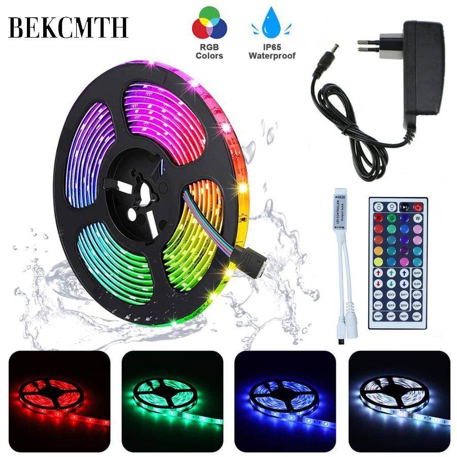 BEKCMTH RGB LED Strip Light SMD2835 5050 5M 10M กันน้ำ RGB เทป DC12V ริบบิ้นไดโอด led Strips โคมไฟด้วย IR Remote Controller