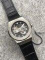 Homens de luxo Da Marca Rosa de Ouro Prata Caso de Relógio De Couro Preto Clássico Esculpida Safira Mecânico Automático Relógios À Prova D' Água AAA +