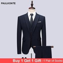 PAULKONTE (Jacket + Vest Pants) 2019 Hot Sale Solid Color Men Suit High Quality Business Wedding Slim Fit Classic Mens