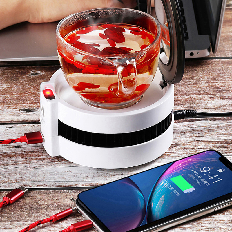 220V Multifunction Cup Heater Warmer Tea Coffee Milk Thermostatic Coaster Cup Heater Night Light Mirror Phone Wireless Charging