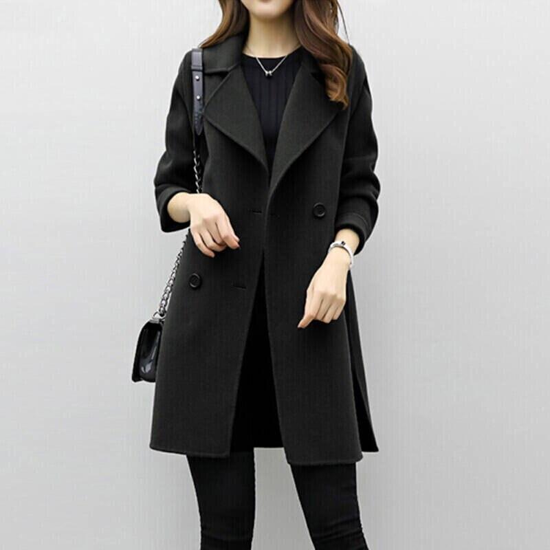 2019 Winter Coat Women Plus Size Korean Fashion Belt Womens Coats Slim Artificial Wool Outerwear Warm Winter Jacket For Female 9