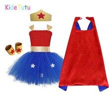 1 комплект, платье-пачка для девочек с героями мультфильма «чудо-женщина», Платья для вечеринок на день рождения с героями мультфильма «супергерой», костюм на Хэллоуин для детей