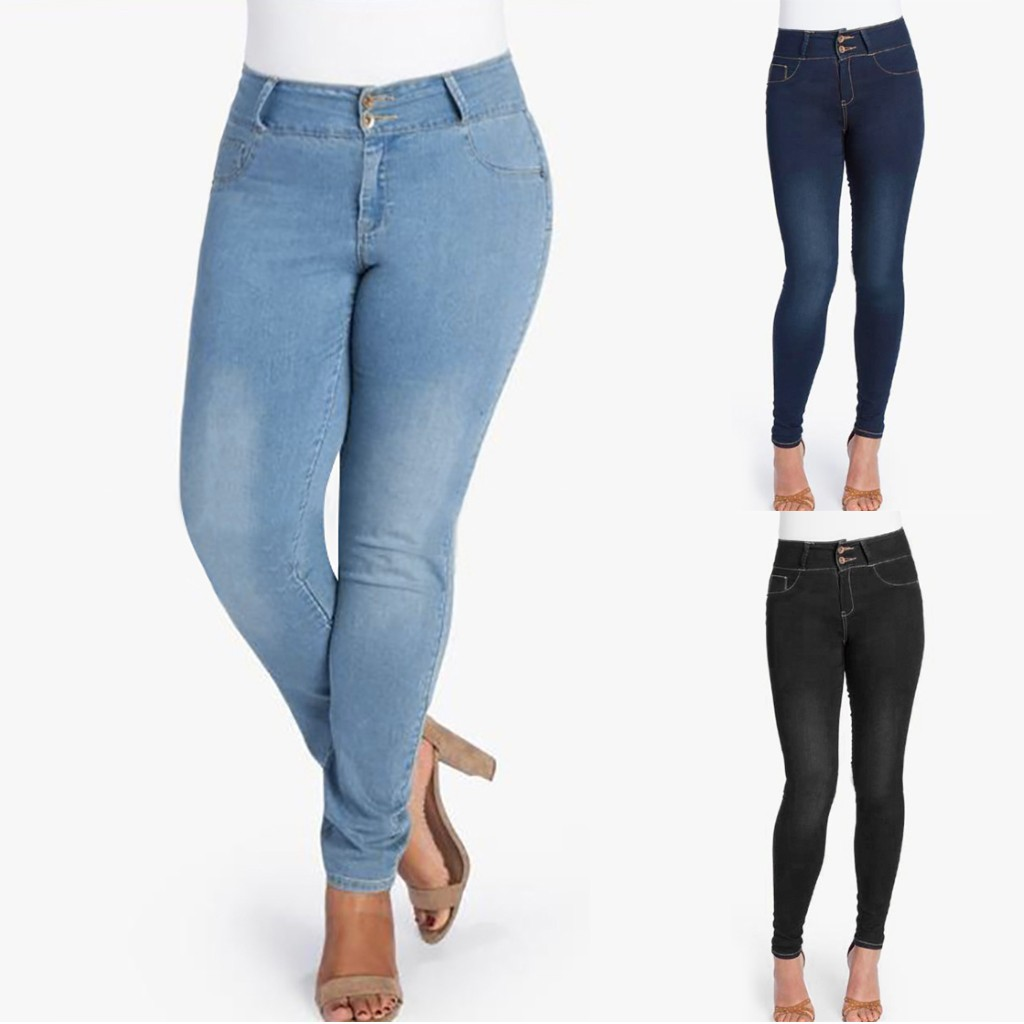 Women Mid Waisted Skinny Denim Jeans Pocket Stretch Slim Button Pants Jeans jeans woman джинсы женские джинсы
