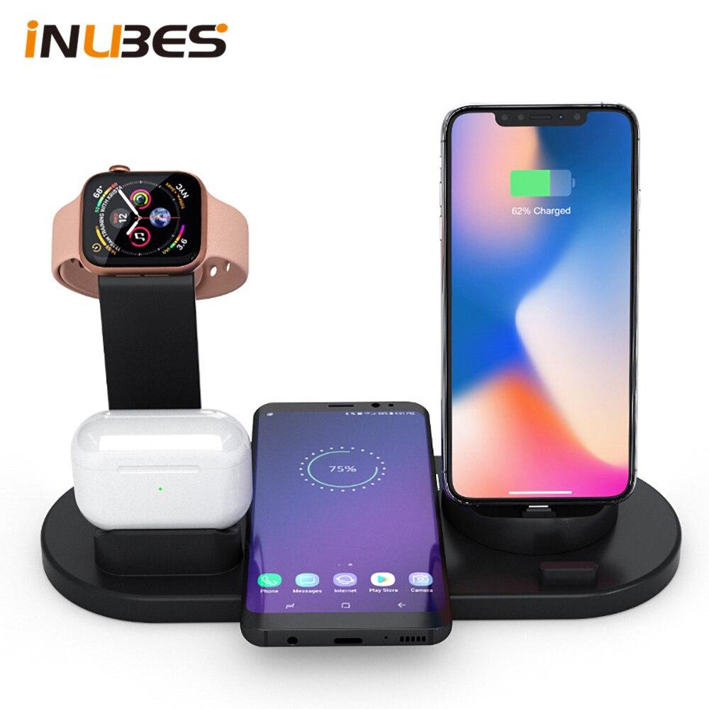 Qi 4 в 1 Беспроводное зарядное устройство для iPhone зарядная док-станция для Apple Watch Airpods зарядное устройство Micro USB Type C подставка Быстрая зарядка