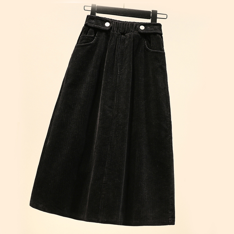 Image 2 - Lucyever Plus Size Women Corduroy Skirt Autumn Winter Vintage Harajuku Loose A line Female Long Skirt High Waist Lady Faldas 5xl-in Skirts from Women's Clothing