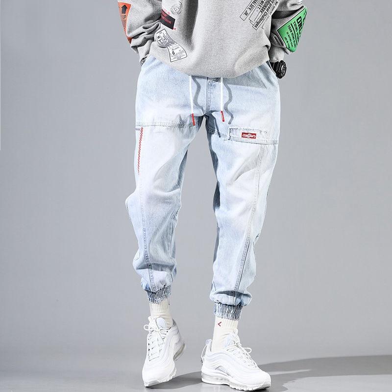 Baggy Jeans Men Blue Black Ripped Jeans Hip Hop Streetwear Harem Ankle Length Denim Pants Elastic Waist  Casual Trousers