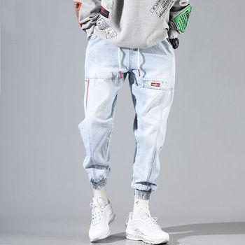 Baggy Jeans Men Blue Black Ripped Jeans Hip hop Streetwear Harem Ankle length Denim Pants Elastic Waist  Casual Trousers top quality 2019 fashion harem pants men ripped knee hole monkey wash washing harem hip hop overalls cargo ankle length pants