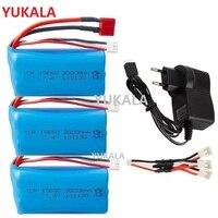 18650 de 7,4 V 3000MAH batería de lipo de 2s para Wltoys/12423/10428 /12429/12401/12402/12402A piezas de repuesto de coche teledirigido/cargador 7,4 V 2S batería