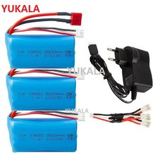 18650 7.4V 3000MAH lipo Battery 2s for Wltoys 12423/10428 /12429/12401/12402/12402A RC Car Spare Parts /charger 7.4V 2S battery