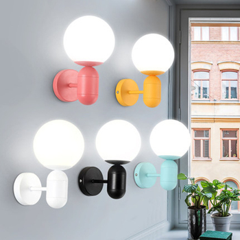 Nordic LED Iron Glass Macaron Color Wall Lights Lighting Postmodern Indoor Decor Loft Lamp Restaurant Bedroom Bedside Luminaire
