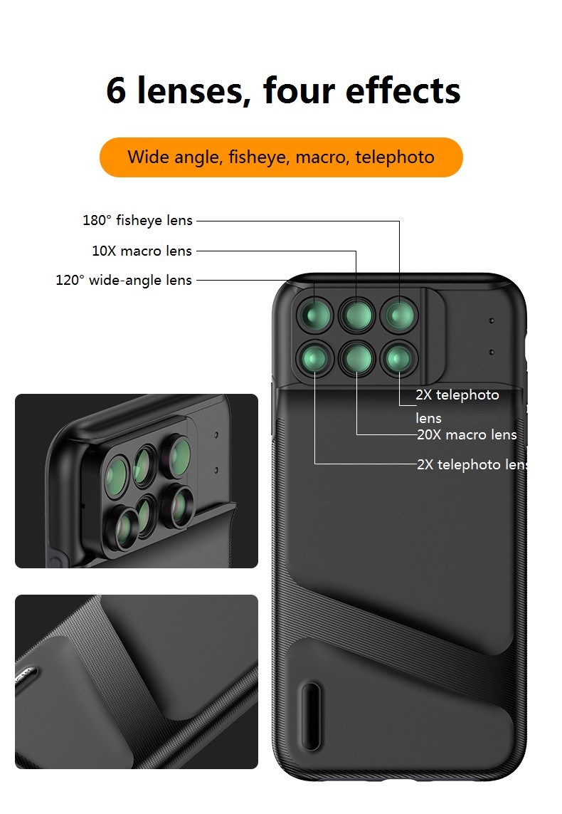For iPhone XS XR XS MAX Dual Camera Lens 6 in 1 Fisheye Wide Angle Macro Lens For iPhone XR Telescope Zoom Lenses +Case|Mobile Phone Lens| |  - title=