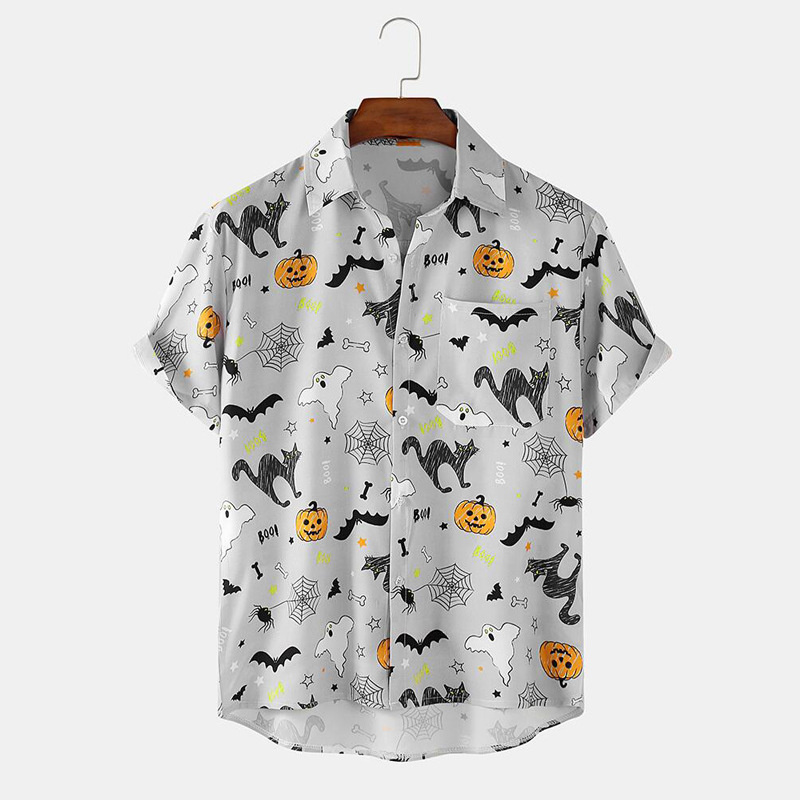 Joker Korean Men Vintage Yellow Shirt Summer New Hawaiian Short Sleeve Shirt Mens Skulls Printed Beach Shirts Man Oversized Hemd