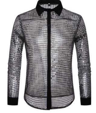 European Fashion Men's Plaid Shirts Autumn And Winter Glitter Big Body Point Scale Night Shop Design Men's Long Sleeve Shirt 8