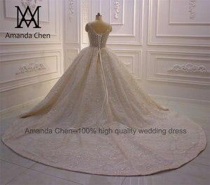 Image 5 - abito da sposa Cap Sleeve Crystal Pearls Shiny Turkey Wedding Dress 2020