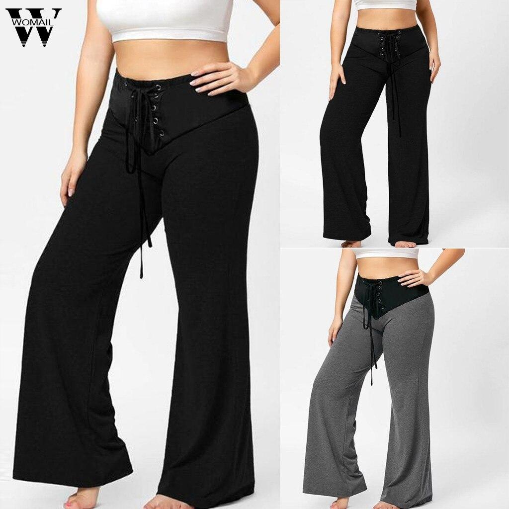 Womail Long Pants Women Newest Drawstring Streetwear Fashion Sexy Women Casual Sweatpants Wide Leg Pants Plus Size L-5XL J724