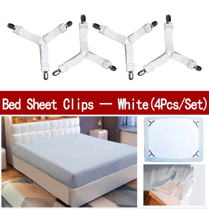 4Pcs/Set Bed Sheet Clip Bed Sheet Belt Fastener Mattress  Elastic Non Slip Nylon Clips Bed Tidy Blanket Gripper White and Black