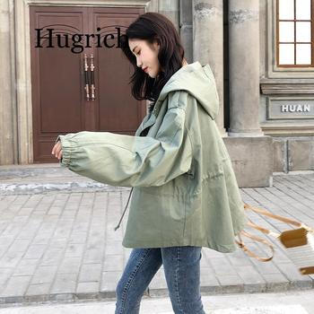 2020 New Loose Trench Coat Spring Autumn Womens Hooded Black Green Windbreaker Outerwear Female Casual