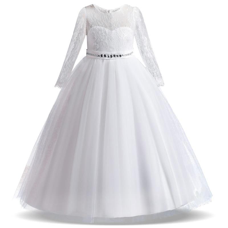 2019 Girl Flower Princess Dress Kids Lace Trailing Dress Children Show Dress First Communion Dresses 3-14 Year Costume Vestidos