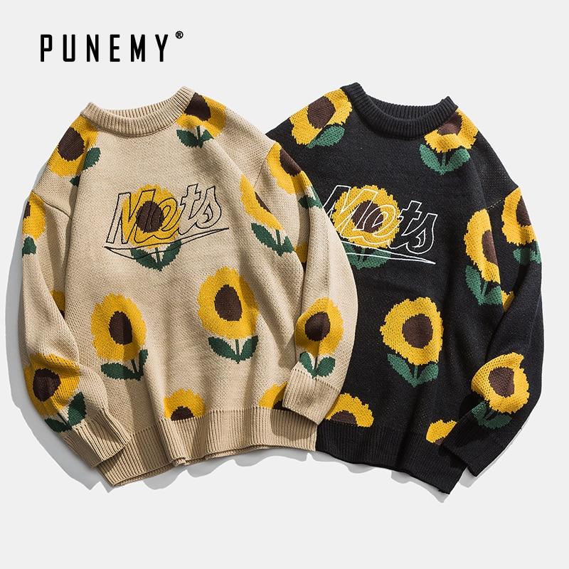 Retro Men Sweaters Sunflower Pattern O-neck Acrylic Oversize Hip Hop Streetwear Harajuku Pullover Autumn New Man's Sweaters