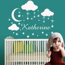 Dessin animé personnalisé babys nom nuage étoile vinyle autocollant Mural papier peint pour la décoration de la maison enfants chambre chambre décor Mural
