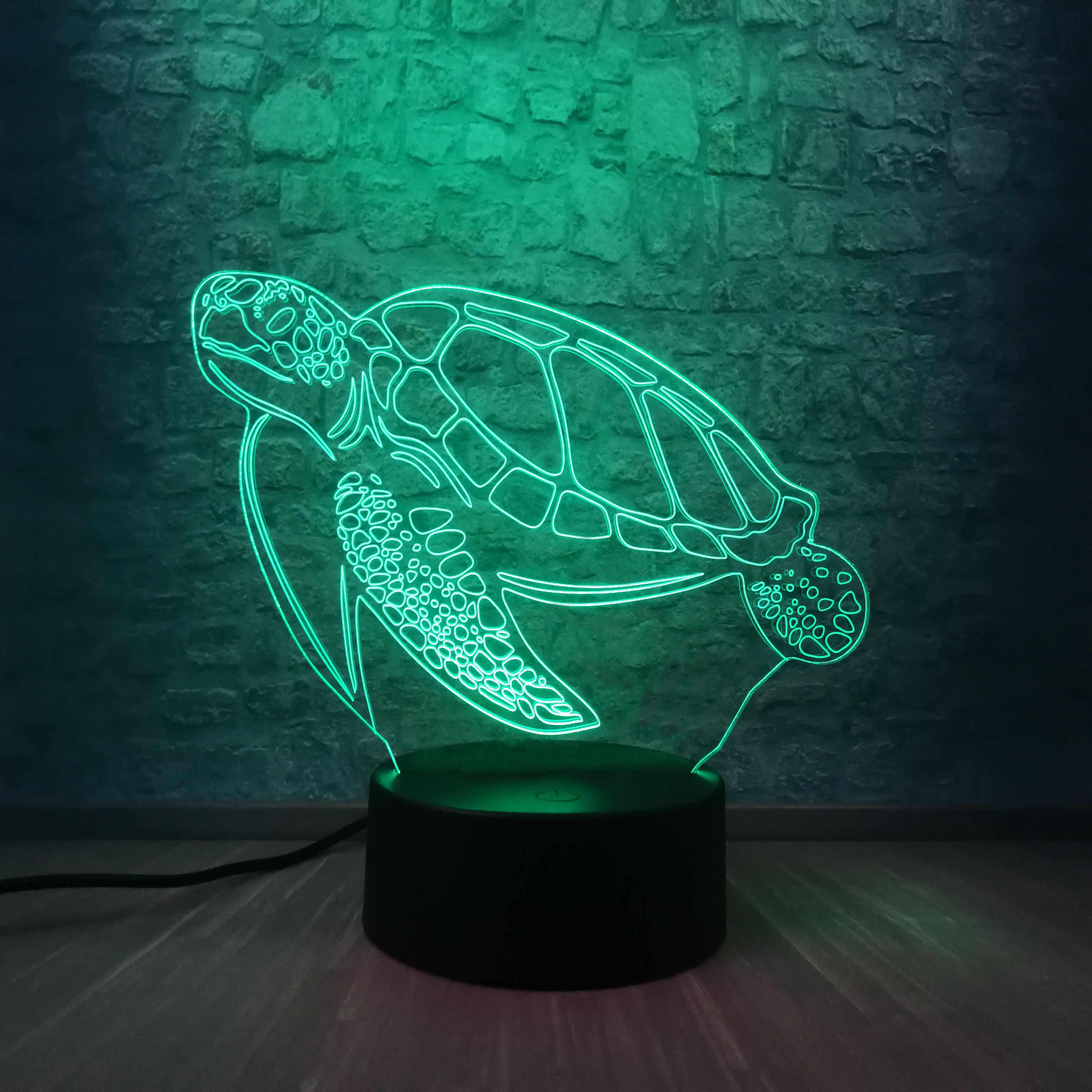 Ocean สัตว์ทะเลเต่า 3D LED โคมไฟกลางคืน USB Touch โคมไฟตั้งโต๊ะระยะไกล Mood Light Decor เด็กของขวัญการจัดส่งของเล่น