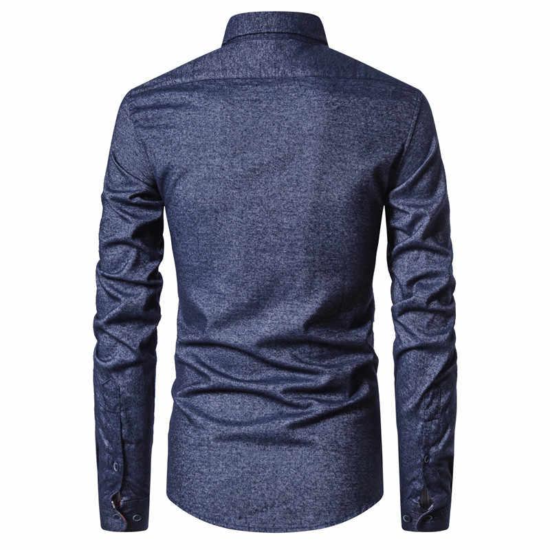 2020 Baru Musim Semi Kapas Pria Kemeja Sosial Bisnis Kasual Kemeja Pria Slim Fit Patchwork Mens Kemeja Lengan Panjang Pria pakaian