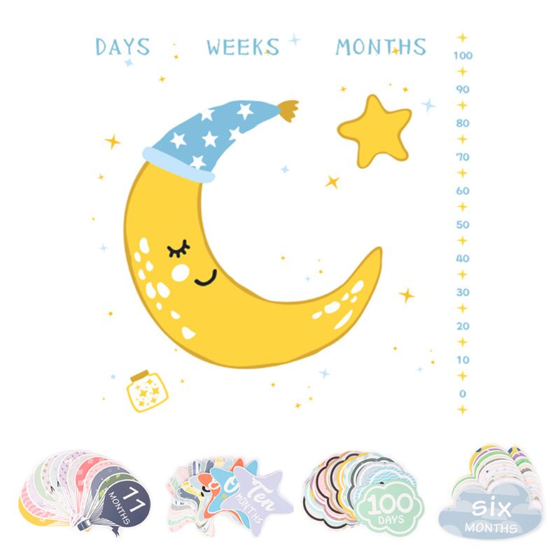 New Baby Wrap Towel Month Age Card Set Newborn Milestone Blanket Infants Growth Photo Background Props Accessories