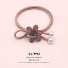 Sempli 100% Nylon Elastic Hair Bands for Womens Plastic Crystal Flower Rubber Band Two Pearl Bow-Knot Headwear Accessories