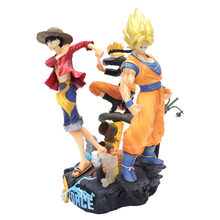 25cm Saltar Força Dragon Ball Z Son Goku PVC Action Figure Luffy ONE PIECE Naruto Uzumaki Naruto Estatueta Toy modelo de Brinquedo(China)