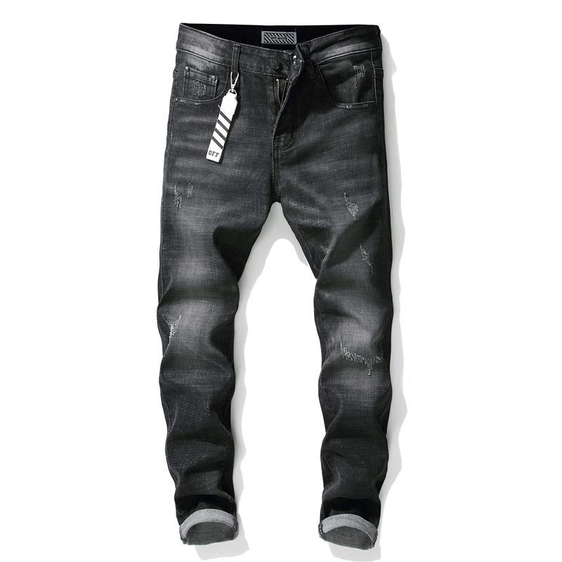 CNUUIKOOEK Men's New Style Cat Whisker Hand Cotton Elastic Slim Fit Black Jeans