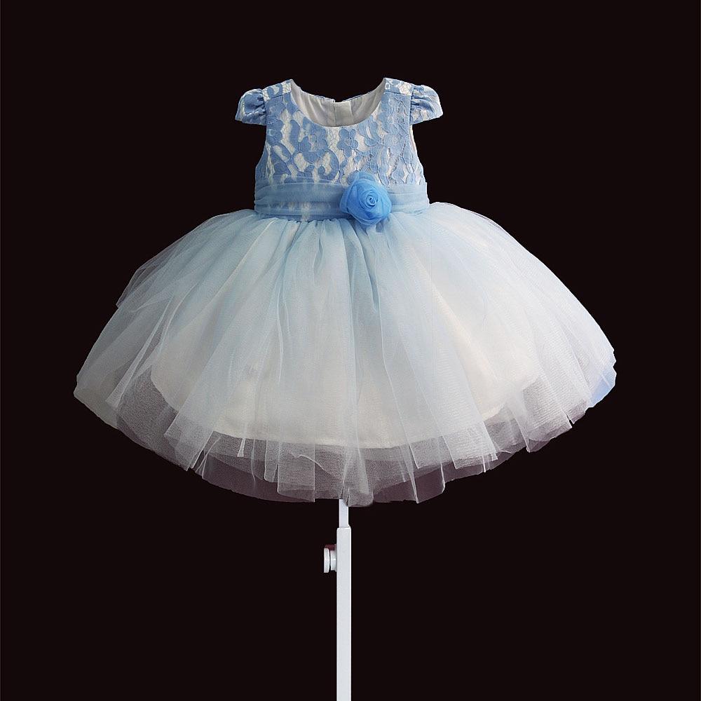 Hollow koronkowy top szyfonowy kwiat łuk pas niebieski różowy bawełniana podszewka dziewczynek sukienka na imprezę 1 rok suknie urodzinowe dla dzieci 2 3Y