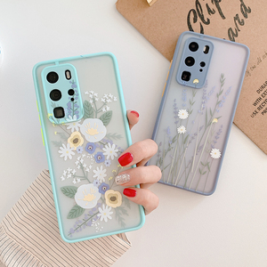 LOVECOM Luxury Fashion Art Flower Clear Phone Case For Huawei P40 Pro P30 Mate 30 Pro Soft Shockproof Bumper Back Cover Cases