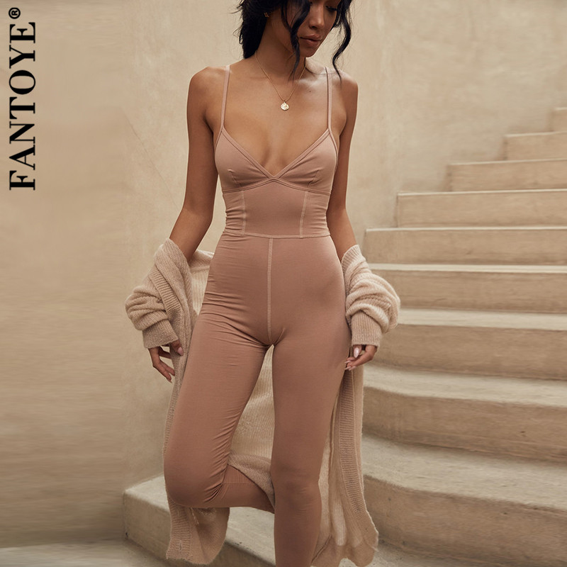 FANTOYE Deep V Neck Bandage Jumpsuits For Women New Khaki Bodycon Jumpsuit 2019 Autumn Skinny Elastic Long Pants Party Overalls