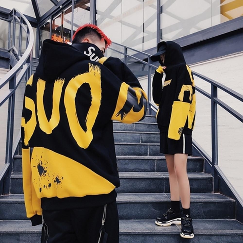 IN Stock Korea 2019 Winter Women Hoodie Casual Streetwear Hip Hop Long Sleeve Pullover Sweatshirts Female Couple Wear Clothes