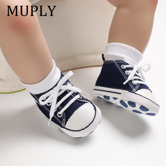 Baby Canvas Classic Sports Sneakers Newborn Baby Boys Girls Print Star First Walkers Shoes Infant Toddler Anti-slip Baby Shoes 1