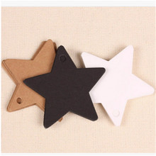 50pcs Star Heart Pattern Kraft Paper Label Wedding Christmas Halloween Party Gift Card Luggage Tags White Black Brown New Arrive