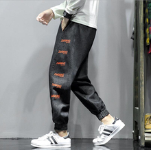 цена на Jeans Mens Autumn Winter Joggers Patchwork Casual Drawstring Sweatpants Trouser Ninth-Pants Hombre Plus Size Men Jeans Homme#c45