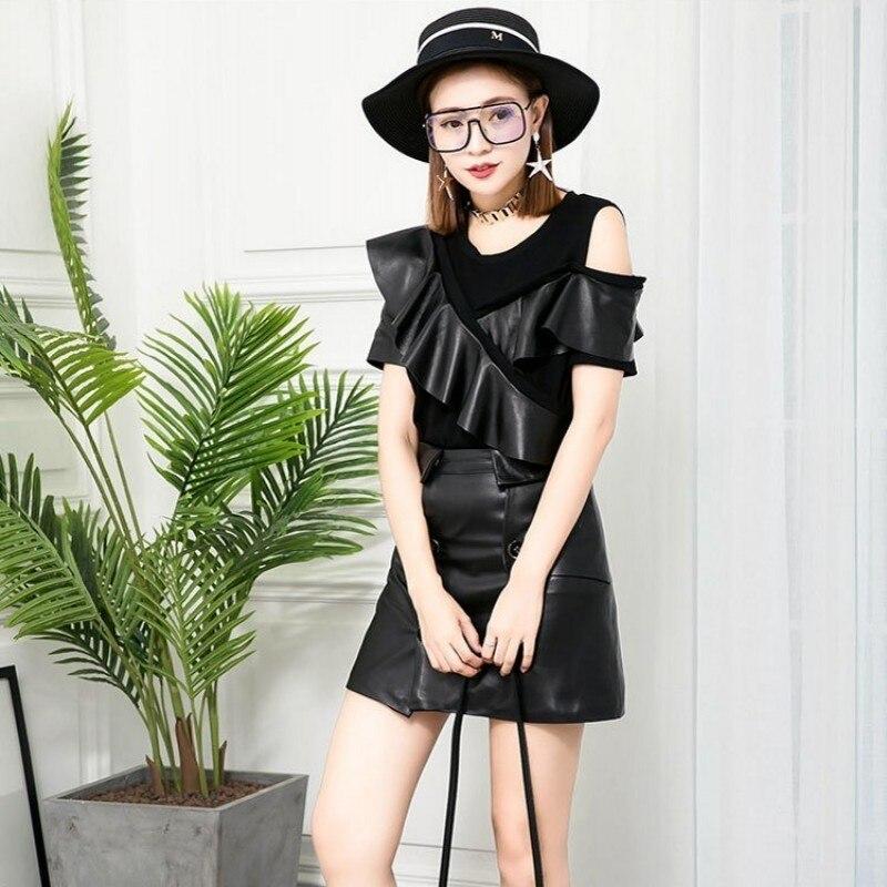 Hot Brand Sheepskin Woman Set Black High Waist Leather Skirt + Short Sleeve Ruffles Shirt 2Pcs Fashion Slim Womens Summer Suit