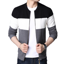 BROWON 2020 Autumn Men New Casual Cardigan Sweater Jumper Men Winter Fashion Striped Pockets Knit Outwear Coat Sweater Men
