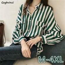 Bluzki koszule damskie w paski eleganckie luźne duże rozmiary 4XL modne modne opuszczane ramiona nowa stylowa koszulka damska na wszystkie mecze