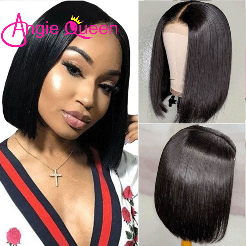 Straight Hair Short Bob Wig ANGIE QUEEN Natural Color Lace Front 180%Density 4x4 Lace Closure Brazilian Remy Hair Human Hair Wig